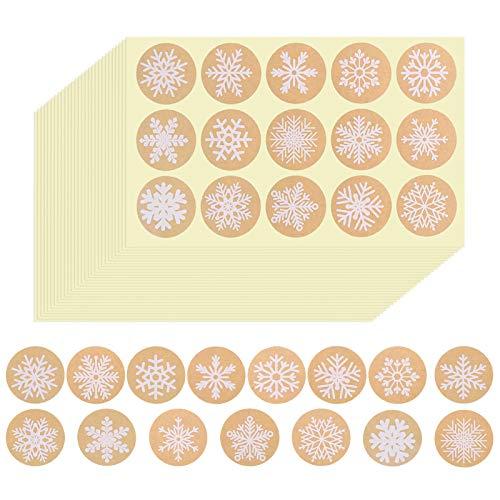 Naler 660 Pegatinas Papel Kraft de Copos de Nieve Navideños Etiquetas Redondas para Envolver Regalos, Sellar Sobres, Manualidades Decoración