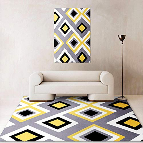 Kunsen Läufer Kreativer geometrischer gelber Grauer moderner Teppich flurteppich Waschbare und Pflegeleichte dekorative Teppiche Wohnzimmergroßer Teppich Schlafzimmer Rutschfester Teppich r80x80CM