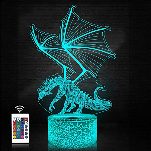 Dragon 3D Night Light for Kids, Hologram Illusion Bedside Lamp 16 Colors Changing Remote Control Plug, LED Room Decor Personalized Christmas Birthday Gifts for Boys Girl Teen