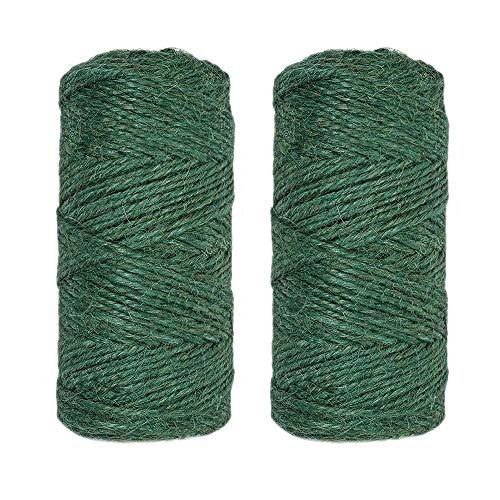 KINGLAKE 2 Stück x 100 m Gartenschnur grün Jute Schnur Seil für Gartenarbeit, Floristik und Bündeln