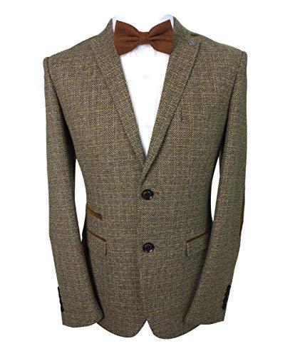 Sirri Paul Andrew Herren-Tweed-Blazer mit Ellenbogen-Patch, braun, Retro-Stil, Wollmischung Gr. 46, braun