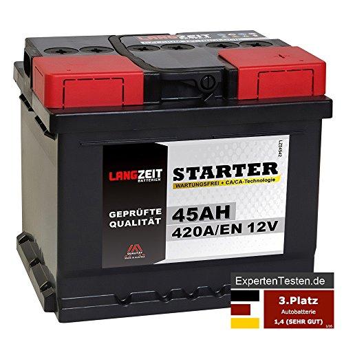LANGZEIT Starter Serie 12V 44Ah - 105Ah Autobatterie Starterbatterie, KFZ PKW Batterie (45Ah)