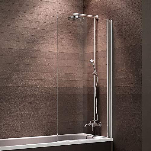 Schulte Duschwand Komfort zum Kleben, kein Bohren in Fliese notwendig, 70 x 130 cm, 5 mm Sicherheitsglas klar hell, alunatur, Duschabtrennung für Badewanne
