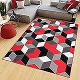 TAPISO Maya Alfombra de Salón Sala Diseño Moderno Rojo Blanco Gris Negro Geométrico Trapecios Mosaico 200 x 250 cm