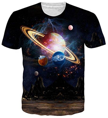 uideazone Unisex Galaxis Tshirts Cool Kurzarm Crewneck Grafik Tees L