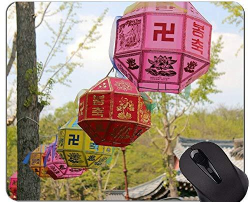 Rutschfeste Gummi-Gaming-Mausunterlage, Laternen-Zitat-Religion Buddha-Statue Rutschfeste Gummiunterlage Mousepad