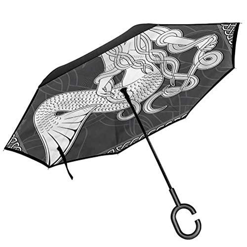 ScottDecor Mermaid Beach Umbrella Retro Celtic Borders Upside Down Umbrella with C-Shaped Handle