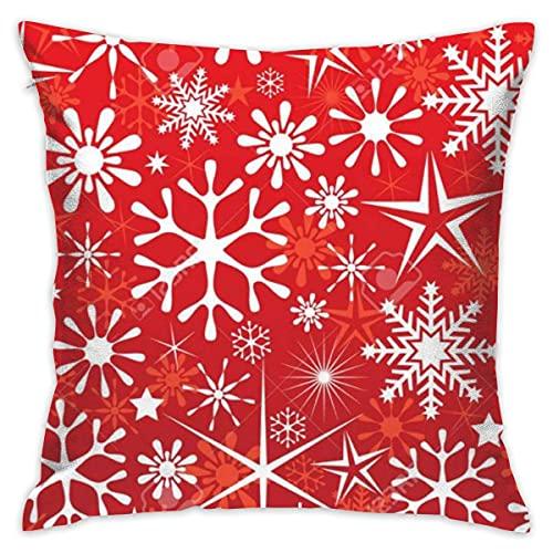 HZLM Fundas de almohada cuadradas decorativas de copo de nieve, 45 x 45 cm
