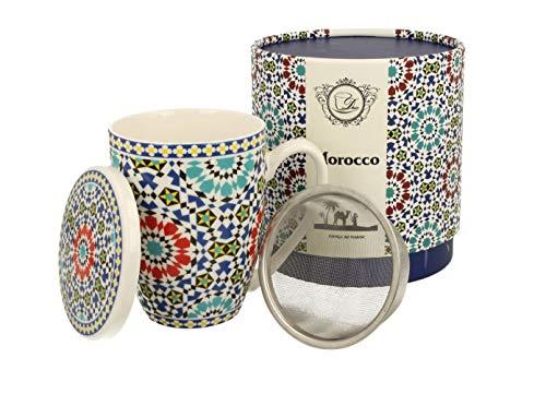 Duo Tee-Tasse Teebecher Set mit Teesieb (Edelstahl) und Deckel Porzellan Teetasse mit Sieb Geschenk-Tasse Blumen Cup with Tea Infuser 380 ml 3teilig in Geschenkbox Becher Geschenkset (Marokko)