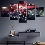 YQRX Grande Cuadro Abstracto sobre Lienzo Modernos Impresión de Imagen Pared 5 Piezas Sala Estar Dormitorio Moderno Decoración Wall Art Canvas Juego Online Planet Picture Mural Marco/150X80CM