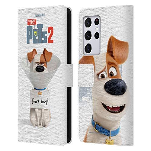 Head Case Designs Licenciado Oficialmente The Secret Life of Pets 2 Perro MAX Jack Russell Carteles de Personajes Carcasa de Cuero Tipo Libro Compatible con Samsung Galaxy S21 Ultra 5G