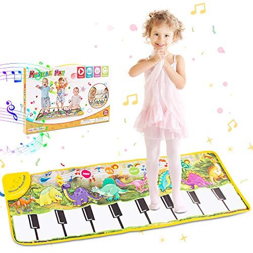 Alfombra de Piano con patrón y sonido de dinosaurio Alfombrilla de baile musical portátil Juguetes de educación temprana Regalo para niños y niñas, 43.3x 14.2 pulgadas