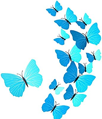 Futaba 3D Butterfly Adhesive Wall Decoration Stickers - 12Pcs - Sky Blue
