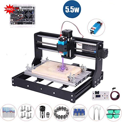 5500mW Laser Engraver CNC 3018 Pro Router Kit GRBL Control 3 Axis Plastic Acrylic PCB PVC Wood Carving Milling Engraving Machine, XYZ Working Area 300 x 180 x 45mm