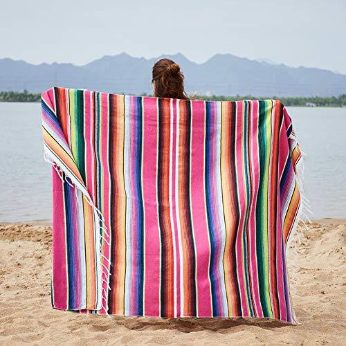 XuBa - Manta de picnic para playa, estilo indio mexicano, color arcoíris, rojo rosado, 150x200cm+ tassel