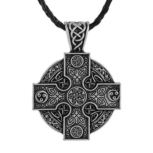 LANGHONG 1PCS Solar Cross Necklace Celtics Irish Druid Men's Necklace Jewelry Talisman