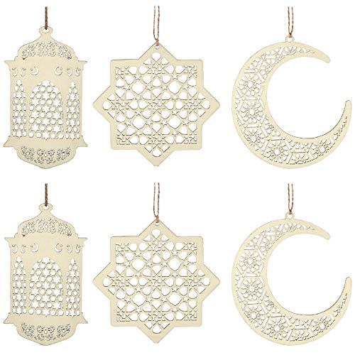 Maitys 2 Sätze 6 Stücke Holz Anhänger Ornament Ramadan Kareem Dekoration Mond Sterne Wind Licht Form Anhänger Ornament für Ramadan Mubarak Eid Dekorationen