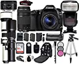 Canon EOS 80D Digital SLR Camera Bundle with Canon EF-S 18-55mm is STM, 75-300mm III & 50mm f/1.8 STM Lens + 500mm Preset & 650-1300mm Telephoto Lenses + Professional Accessory Bundle (19 Items)