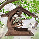 Owill Wooden Birdhouse Garden Bird Feeder - Handmade Wooden Outdoor Garden Hanging Bird Feeders, Hummingbird Nesting Houses Bird Feeder Outside (Wooden)