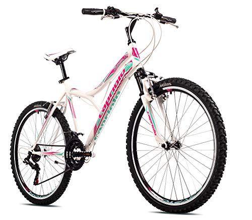 breluxx® 26 Zoll Kinderfahrrad Mountainbike Hardtail Diavolo600 FS Sport, weiß-türkis-pink, 18 Gang Shimano - Made in EU
