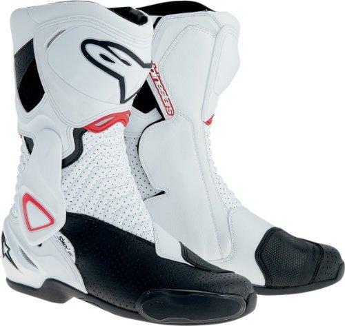 Alpinestars SMX-6 Men's Motorcycle Street Boots Vented (White/Black/Red, EU Size 43) by Alpinestars