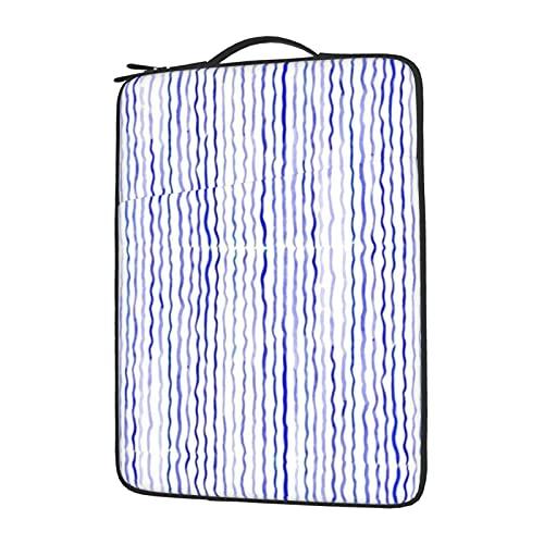 Funda para portátil de 13 a 15,6 pulgadas, con rayas de agua, color azul, resistente al agua, de neopreno, compatible con ordenadores y tabletas Lenovo, HP Envy, MacBook Pro, MacBook Air