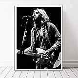 Jryuplzs Kurt Cobain Rock Music Band Band Music Star Star Black Blanc Affiche imprimée Art Art Pictures Salon Salon Decor 40x60cm sans Cadre