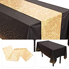 EVERYTHING INCLUDED:1 Pcs Confetti Plastic Tablecloth Black 54 X 108 Inches & 1 Pcs Sequin gold Table Runner 12 X 108 Inches, Rectangle This glitter Gold table runner is made of polyester mesh and PET sequins material, with heavy sequins, exquisite s...