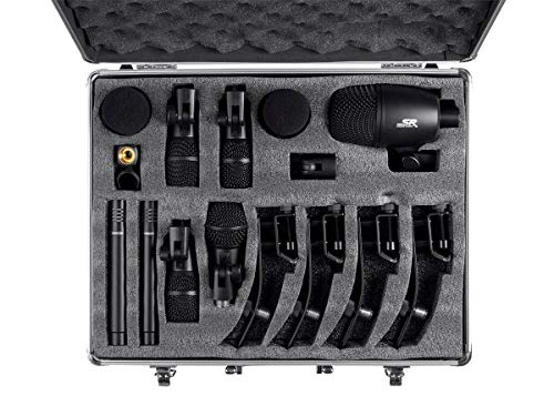 drum overhead mics Monoprice 7-piece Drum and Instrument Mic Kit   With Mounts and Case, balanced XLR connections - Stage Right Series