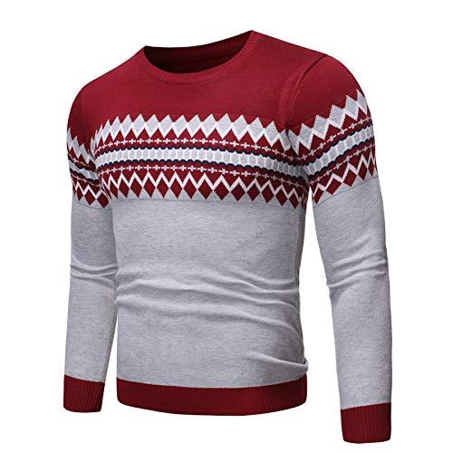 Jersey de Cuello Redondo para Hombre, Jersey de Estilo étnico con Costuras de Jacquard, Bloqueo de Color, Ajustado, Jersey Fino de Primavera y otoño Medium