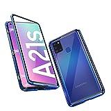 HaptiCover Hülle für Samsung Galaxy A21S Magnetische Handyhülle 360-Grad-Schutz Starke Magneten Aluminium Rahmen Gehärtetes Glas Stoßfest Metall Flip Hülle