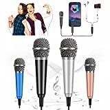 [2PCS] Mini Microphone Voice Recording, Portable Vocal Microphone Mini Karaoke Mic for iPhone Android Phone Laptop, Singing, Recording and Chatting (Black, Silver)