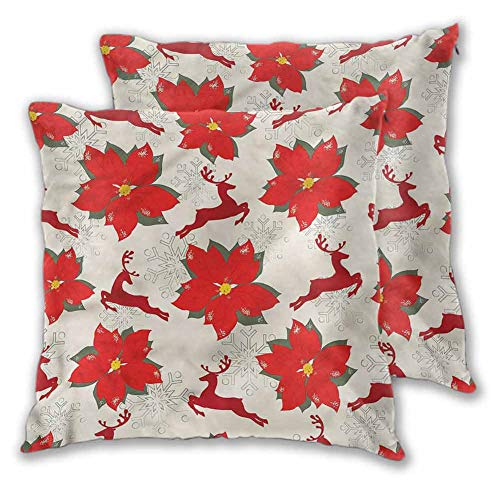 Christmas Pillowcase Polyester, 18 x 18 Inch Poinsettia Reindeer for Sofa Bedroom Car Christmas Decoration Set of 2