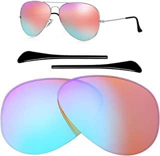 Polarized Replacement Lenses for Ray-Ban Aviator RB3025 (58MM) Sunglasses - 10 Colors,with 1 Pair Temple Tips