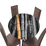 Fansu Impermeable Redondo Mantel con Borde Elástico, 3D Impresión Mantel de Mesa Elástica Ajustada Cubierta de Mesa para Picnic Comedor Cocina Restaurante Cena (Bambú 4,Diámetro 180cm)