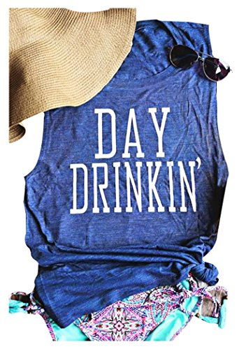 MK Shop Limited Women's Day Drinkin' Casual Tank Funny Letters Print Vest T-Shirt (M, Blue)