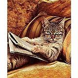 DIY Pintura a óleo por número Kit para crianças e adultos iniciante - livro de leitura de gatos Desenho com pincéis Decoração para casa Presentes 16 x 20 polegadas (sem moldura)