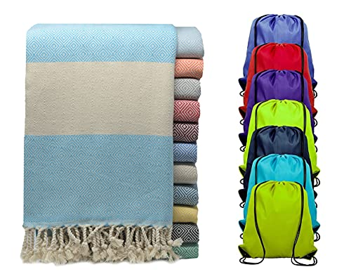 Peguce - Turkish Peshtemal Beach Towels with Travel Bag - Lightweight - Quick Dry - Oversized Beach Towel & Sand Blanket - Made with Organic Turkish Cotton - Turquoise Towel & Tote - (40 x71 )