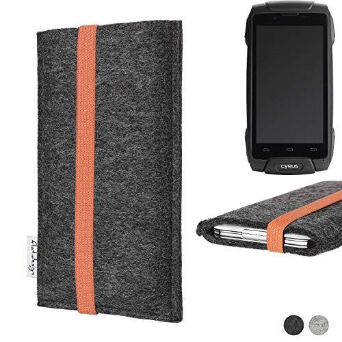 flat.design vegane Handy Tasche Coimbra für Cyrus CS 30 - Schutz Case Tasche Filz vegan fair orange
