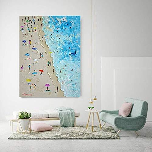 Pintura de Lienzo Verano Playa Marina Cuchillo Pintura al óleo póster Imagen de la Pared Imagen de la Sala sin Marco Pintura 30x40 cm