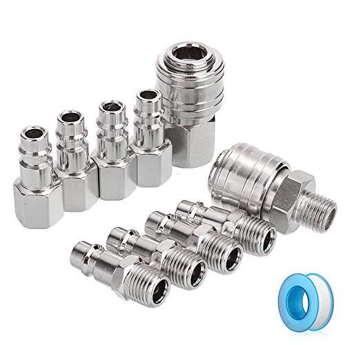 WJMY 1/4 Druckluftkupplung Kupplungsstecker Druckluft Schnellkupplung für BSP Schnellkupplung,Kupplung Druckluft Kupplungsstecker 1/4,Luftanschluss Schnellkupplung (10 Stk)