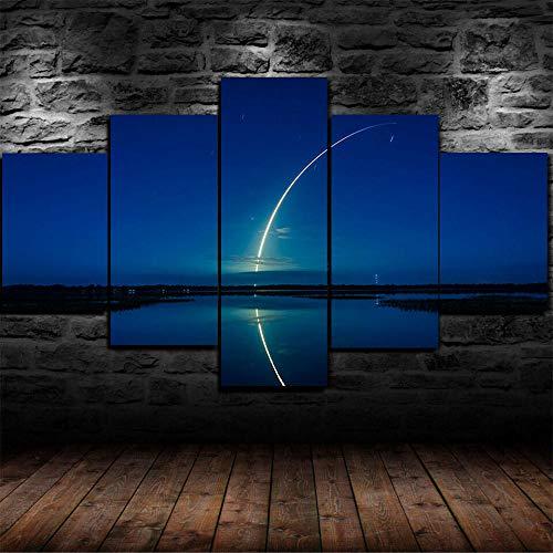 AWER 5 piezas de lienzo de arte de pared 9 ROCKET SPACEX SKY ESPACIO 5 piezas de lienzo Foto Regalo Moderno Decoración Decorativo para Tu Salón o Dormitorio Mural Hd Con Marco