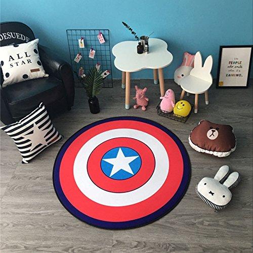 Lily&her Friends, runde Fußmatte, runder Teppich, Kinderklettermatratze, Dekokissen, Samt, Captain America, Diameter: 120cm