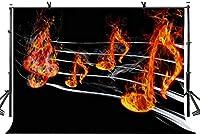 新しい5x3ft音楽記号の背景燃える音楽記号音楽のテーマ写真の背景写真スタジオの背景の小道具