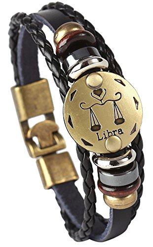 Hamoery Punk Alloy Leather Bracelet For Men Constellation Braided Rope Bracelet Bangle Wristband(Libra)