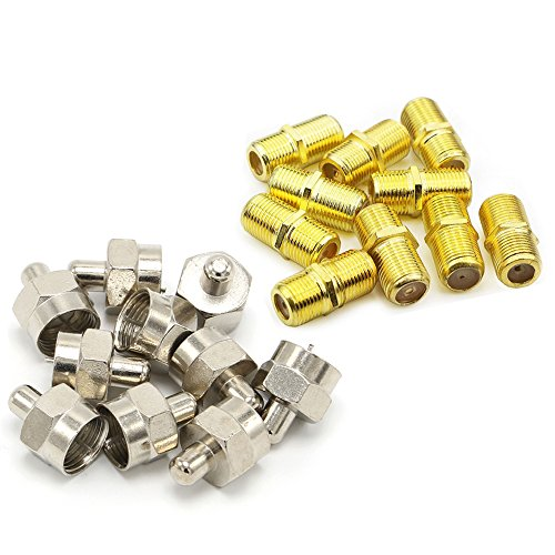 Mumaxun 10pcs RG58 RG59 RG6 Coupler F-Type Female to Female Coaxial Cable Connector Adapter with10pcs F Type 75 Ohm Terminator