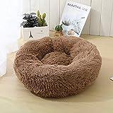 Vanhua ペットベッド ペットクッション ペットソファ ラウンド型 丸型 ドーナツペットベッド ぐっすり眠る ふわふわ もこもこ 暖かい 秋冬用猫ベッド犬ベッドペット用寝床(M(50*20CM), 褐色)