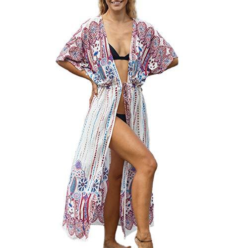 chuangminghangqi. Copricostume Donna Mare Vestiti Lungo Copricostumi Costume da Bagno Kaftano Kimono Cardigan Abito da Mare Spiaggia Veste Casual Copribikini Cover ups (7029-rosso)