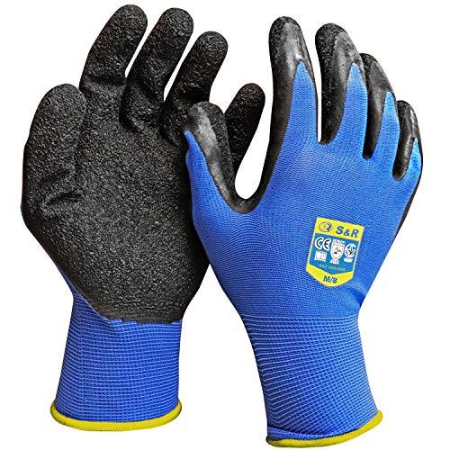 S&R Arbeitshandschuhe 12 Paar XL aus Nylon mit Latex-Beschichtung, Drive-Grip®-Technologie Schutzhandschuhe geeignet für den privaten und gewerblichen Gebrauch (XL/10)