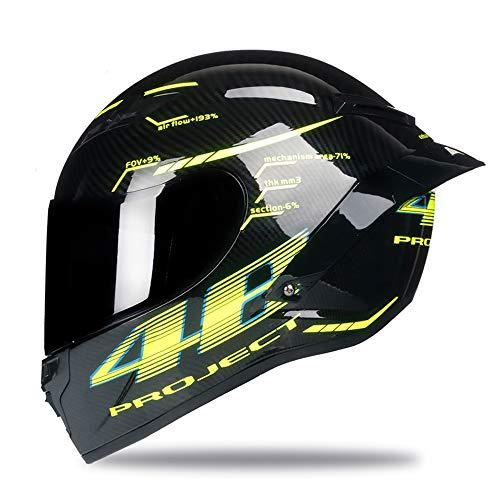 Woljay Integralhelm Helm Motorradhelm Motocross Offroad Moto Street Helme Fahrrad Helme (M, Carbon-Lackierglanz)